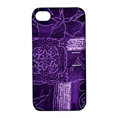 Pretty Purple Patchwork Apple Iphone 4/4s Hardshell Case With Stand