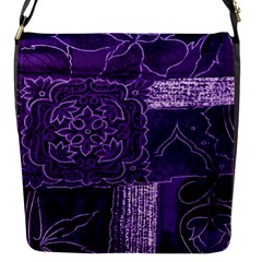 Pretty Purple Patchwork Flap Closure Messenger Bag (Small)
