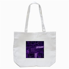 Pretty Purple Patchwork Tote Bag (White)