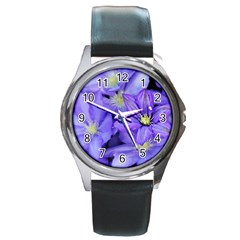 Purple Wildflowers For Fms Round Leather Watch (Silver Rim)