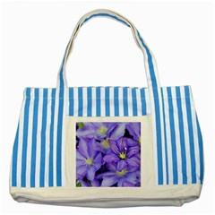 Purple Wildflowers For Fms Blue Striped Tote Bag