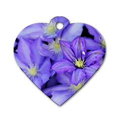 Purple Wildflowers For Fms Dog Tag Heart (Two Sided)