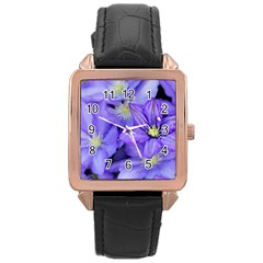 Purple Wildflowers For Fms Rose Gold Leather Watch