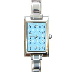 Anchors In Blue And White Rectangular Italian Charm Watch