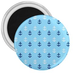 Anchors In Blue And White 3  Button Magnet