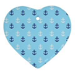 Anchors In Blue And White Heart Ornament