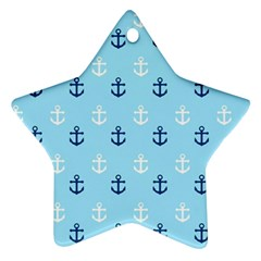 Anchors In Blue And White Star Ornament