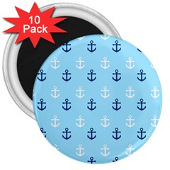 Anchors In Blue And White 3  Button Magnet (10 pack)