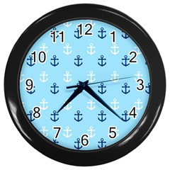 Anchors In Blue And White Wall Clock (black)