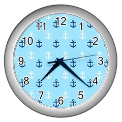 Anchors In Blue And White Wall Clock (silver)