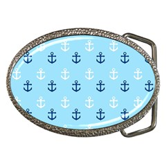 Anchors In Blue And White Belt Buckle (oval)