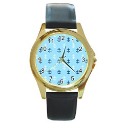Anchors In Blue And White Round Leather Watch (Gold Rim)