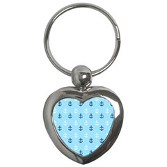 Anchors In Blue And White Key Chain (heart)