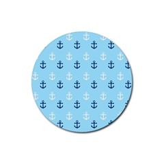 Anchors In Blue And White Drink Coaster (Round)