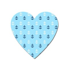 Anchors In Blue And White Magnet (heart)