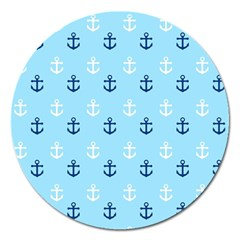 Anchors In Blue And White Magnet 5  (round)