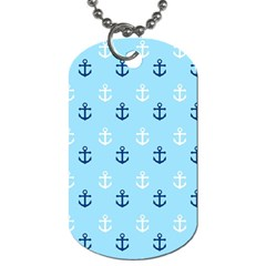 Anchors In Blue And White Dog Tag (one Sided)