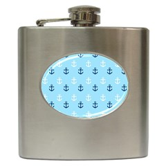 Anchors In Blue And White Hip Flask