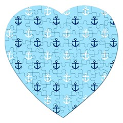 Anchors In Blue And White Jigsaw Puzzle (heart)