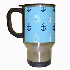 Anchors In Blue And White Travel Mug (white)