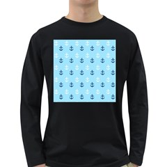 Anchors In Blue And White Men s Long Sleeve T-shirt (Dark Colored)