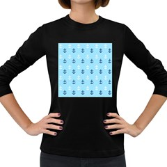 Anchors In Blue And White Women s Long Sleeve T-shirt (Dark Colored)