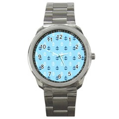 Anchors In Blue And White Sport Metal Watch