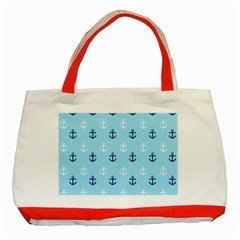 Anchors In Blue And White Classic Tote Bag (red)
