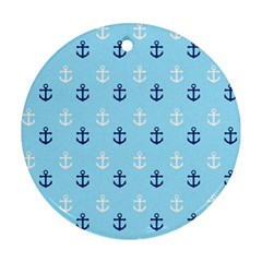 Anchors In Blue And White Round Ornament (Two Sides)