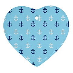 Anchors In Blue And White Heart Ornament (Two Sides)