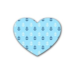 Anchors In Blue And White Drink Coasters (Heart)