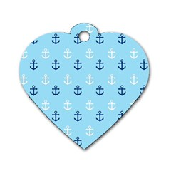 Anchors In Blue And White Dog Tag Heart (One Sided)