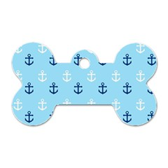 Anchors In Blue And White Dog Tag Bone (One Sided)