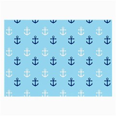 Anchors In Blue And White Glasses Cloth (Large, Two Sided)