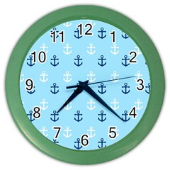 Anchors In Blue And White Wall Clock (Color)