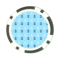 Anchors In Blue And White Poker Chip