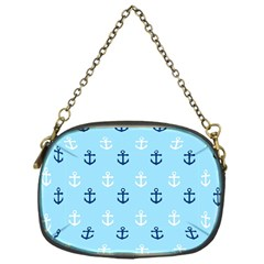 Anchors In Blue And White Chain Purse (one Side)