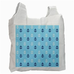 Anchors In Blue And White White Reusable Bag (One Side)