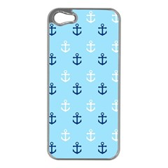 Anchors In Blue And White Apple iPhone 5 Case (Silver)