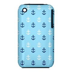 Anchors In Blue And White Apple iPhone 3G/3GS Hardshell Case (PC+Silicone)