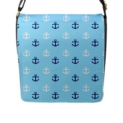 Anchors In Blue And White Flap Closure Messenger Bag (large)