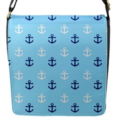 Anchors In Blue And White Flap Closure Messenger Bag (Small)
