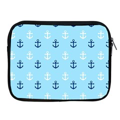 Anchors In Blue And White Apple Ipad Zippered Sleeve