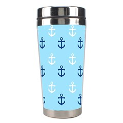 Anchors In Blue And White Stainless Steel Travel Tumbler