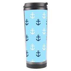 Anchors In Blue And White Travel Tumbler