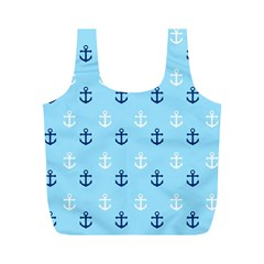 Anchors In Blue And White Reusable Bag (M)