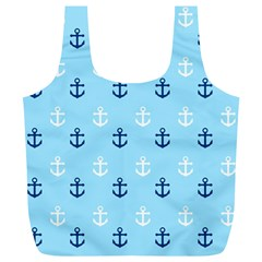 Anchors In Blue And White Reusable Bag (XL)