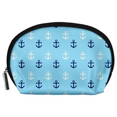 Anchors In Blue And White Accessory Pouch (Large)