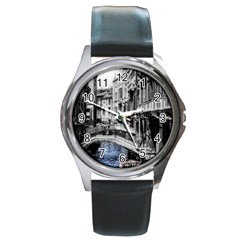 Vintage Venice Canal Round Leather Watch (silver Rim)