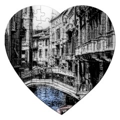 Vintage Venice Canal Jigsaw Puzzle (Heart)